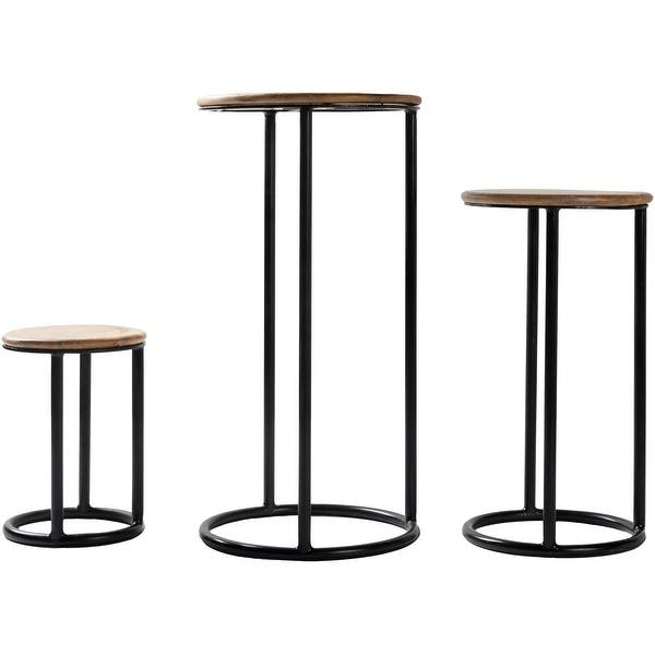 Carbon Loft Auriemma Iron And Wood Handcrafted Nesting Plant Stands Set Of 3 Black Overstock 30548385