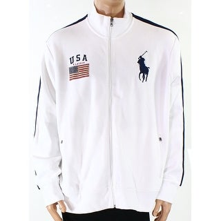 Polo Ralph Lauren NEW White Mens Size L Graphic Full Zip Sweater