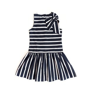 Sophie Catalou Little Girls Navy White Striped Bow Embellished Lina Dress