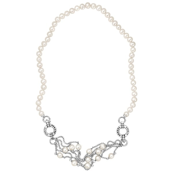 Honora 8-9 mm Ringed Freshwater Pearl Convertible Necklace & Bracelet in Sterling Silver