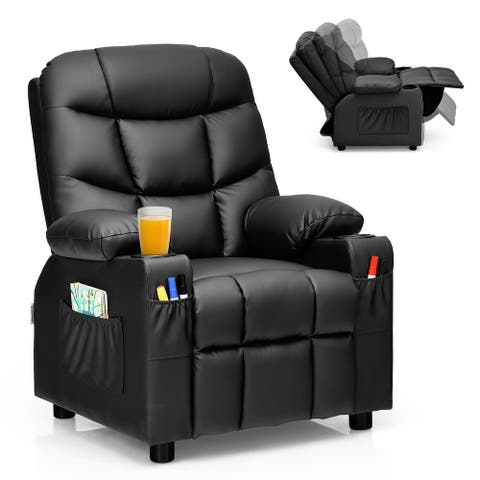 Costway Kids Youth Recliner Chair PU Leather w/Cup Holders & Side