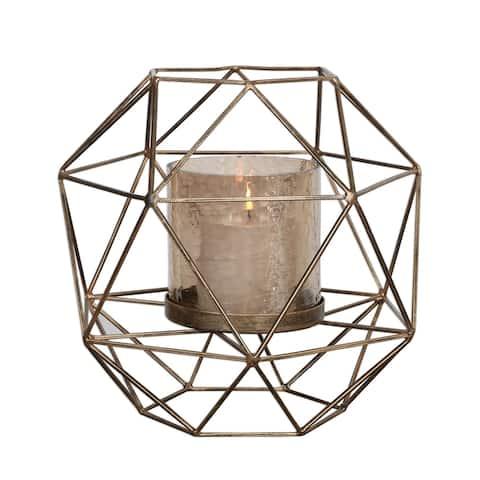 "14.5"" Gold Myah Geometric Candleholder"