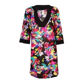 Anne Cole Women's Floral Print Tunic Swim Top Cover-Up (S/M, Multi) - Multi - S/M