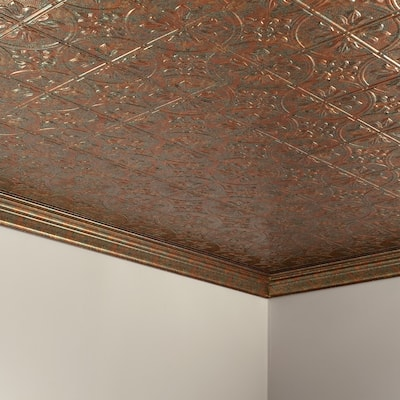 Fasade Traditional Style/Pattern #2 Decorative Vinyl 2ft x 4ft Glue Up Ceiling Tile in Copper Fantasy (5 Pack)
