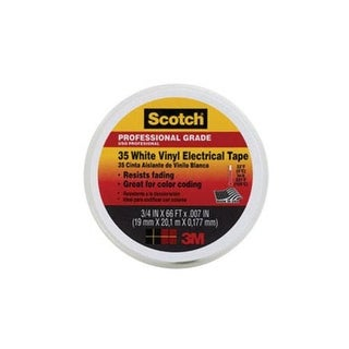 "Scotch 10828-BA-10 Vinyl Electrical Tape, 3/4"" x 66', White"