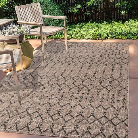 JONATHAN Y Ourika Moroccan Geometric Textured Outdoor Area Rug