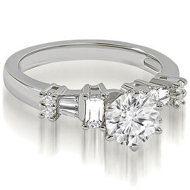1.00 cttw. 14K White Gold Round Princess Baguette cut Diamond Engagement Ring