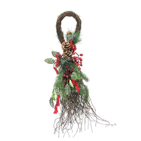 """24"""" Frosted Berries, Pine Cones, and Evergreen Sprigs Artificial Christmas Teardrop Swag - brown"""