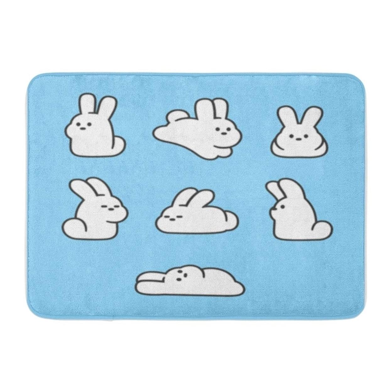 Blue Cute Cartoon Rabbits Simple Bunnies In Different Doormat Floor Rug Bath Mat 30x18 Inch Multi On Sale Overstock 31780123