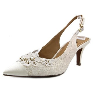 Kay Unger Lambada Women Pointed Toe Canvas Ivory Slingback Heel