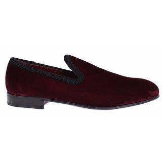 Dolce & Gabbana Bordeaux Red Velvet Loafers Dress Shoes - 39