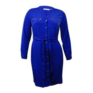 Calvin Klein Women's Zipper Pocket Belted Button Up Front Dress