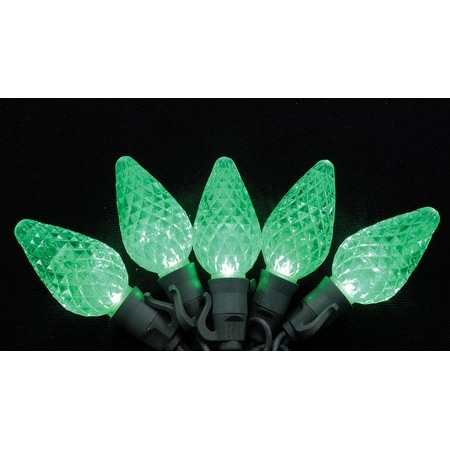 Celebrations 7001007S-04AC C9 Green LED Light String 26', Green Wire