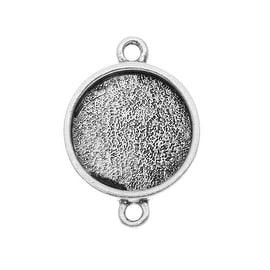 Nunn Design Antiqued Silver Plated Pewter Collage Bezel Round 2-Loop Link 14.5mm