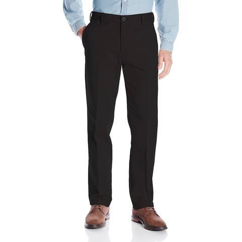 IZOD Mens Pants Deep Black Size 40x30 Straight Fit Flat-Front Khakis