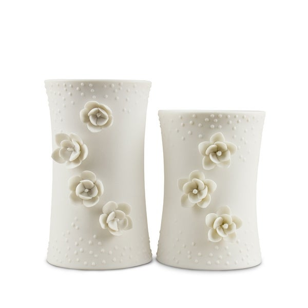 Silvestri White Porcelain Candle Holders - 6.0 in. x 4.0 in. x 4.0 in.