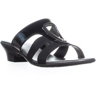 KS35 Engle Low Block Heel Slip On Sandals, Black