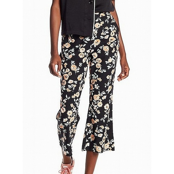 ABound Black Womens Size Medium M Pull On Floral Printed Pants