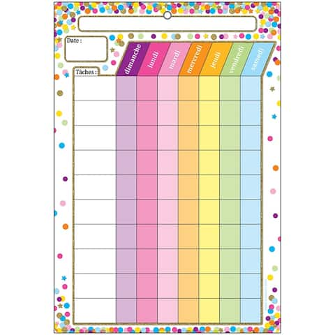 Smart Poly Chart French Chore Chart Dry-Erase Surface