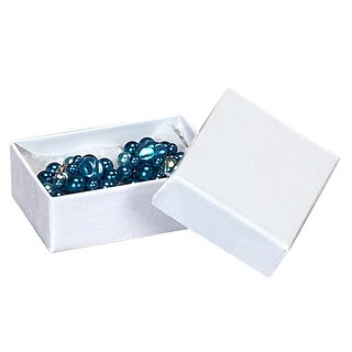 "Pack of 100, Solid 1.75 X 1.25 X 0.5"" White Swirl Jewelry Box w/Non-Tarnish Cotton For Items Such As Earrings Or Silverware"