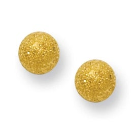 Stainless Steel Gold-plated Laser Cut 4mm Bead Post Earrings
