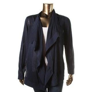 Lauren Ralph Lauren Womens Plus Linen Open Front Cardigan Sweater - 1X