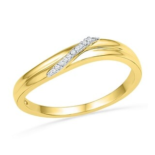 10kt Yellow Gold Womens Round Natural Diamond Band Fashion Ring .03 Cttw
