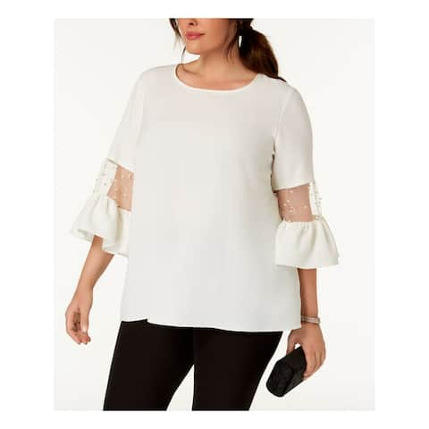 MSK Womens Ivory Faux Pearl Embellished Bell Sleeve Jewel Neck Top Plus Size: 2X