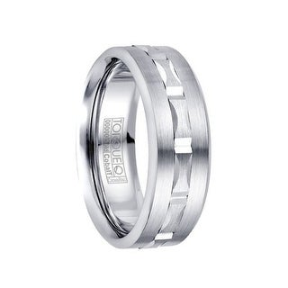 Brushed White Cobalt 10k White Gold Inlaid Grooved Center Men's Wedding Band by Crown Ring - 7.5mm