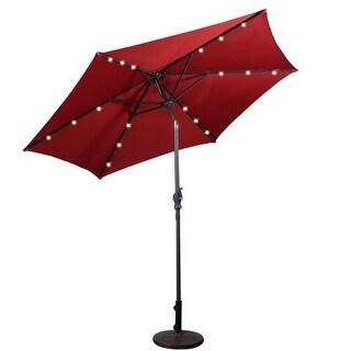 Costway 9ft Patio Solar Umbrella LED Patio Market Steel Tilt w/ Crank Outdoor (Burgundy)