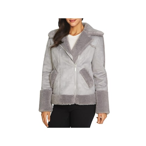 1.State Womens Moto Coat Winter Faux Shearling