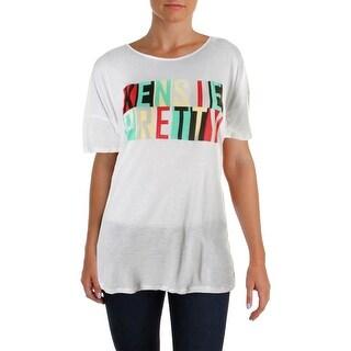 Kensie Womens Kensie Pretty Graphic T-Shirt Printed Short Sleeves