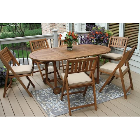 Eilaf 7pc Eucalyptus Fold and Store Dining Set