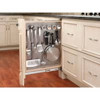 """Rev-A-Shelf 434-BF-3SS 434 Series 3"""" Base Filler Pull Out Organizer with Stainless Steel Panel - Natural Wood"""