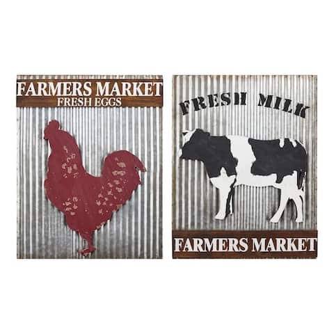 IMAX Home ZA0217244 Farmhouse Themed Galvanized and Fir Wood Chicken - Silver