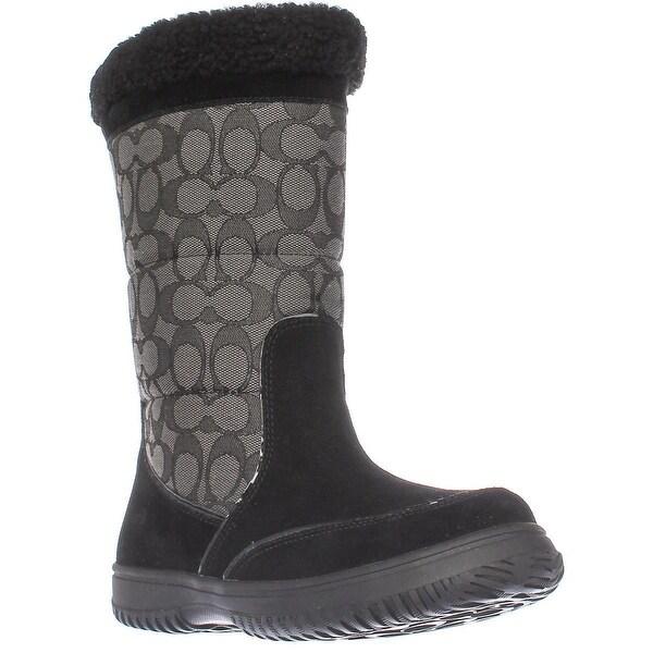 Coach Sherman Signature Cold Weather Boots, Black/Black Smoke