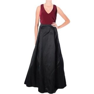 Aqua Womens Semi-Formal Dress V-Neck Lace Overlay