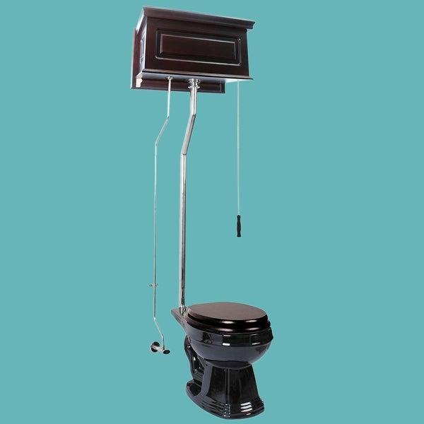 Dark Oak High Tank Pull Chain Toilet Black Round Chrome   Renovator's Supply
