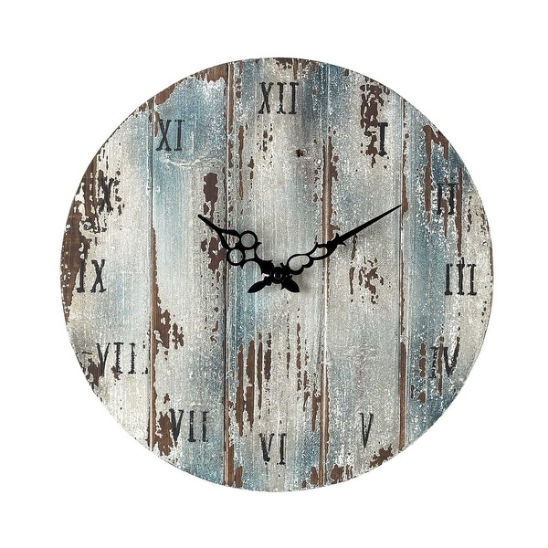"Elk Home 128-1008 16"" Height Wooden Roman Numeral Outdoor Wall Clock - Belos Dark Blue"