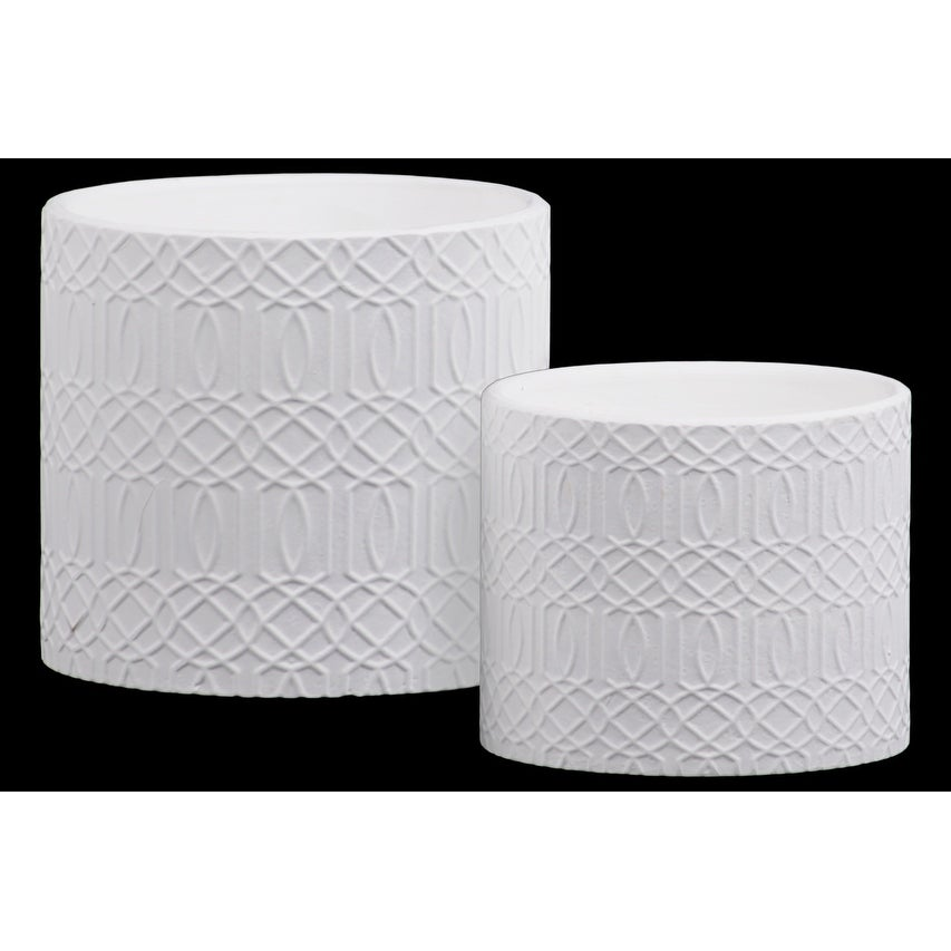 Stoneware Cylindrical Embossed Lattice Concentric Design Pot, Set of 2, White