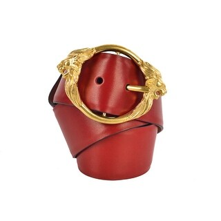 Roberto Cavalli Womens Red Leather Gold Lion Head Buckle Belt