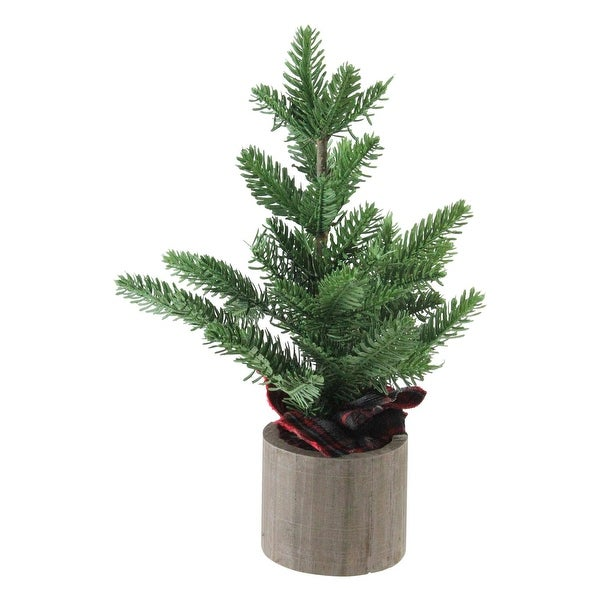"16"" Artificial Pine Christmas Tree In Wooden Pot Table Top Decoration - green"