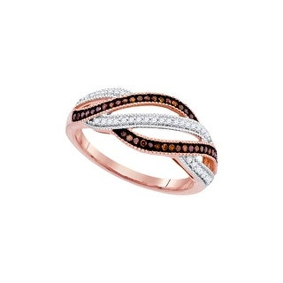 10k Rose Pink Gold Red Colored Natural Diamond Womens Unique Cocktail Band Ring 1/4 Cttw - White