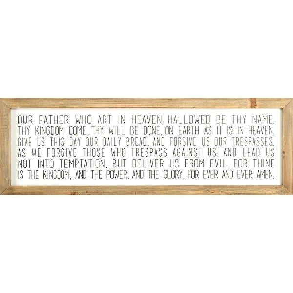"""36"""" Brown and White Bible Quote Rectangular Wall Plaque - N/A"""
