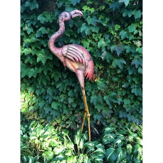 Sunjoy Large Metal Flamingo, Hand Painted Garden Statue, 54.7 Inch