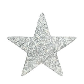 "18"" LED Lighted Silver Glitter 3D Star Hanging Christmas Yard Art Decoration"