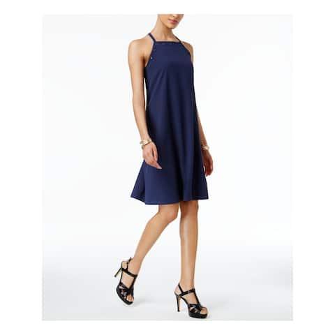 ALFANI Womens Navy Spaghetti Strap Knee Length Shift Dress Size 12