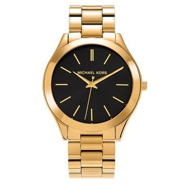 Michael Kors Women's MK3478 'Runway' Goldtone Stainless Steel Black Dial Bracelet Watch