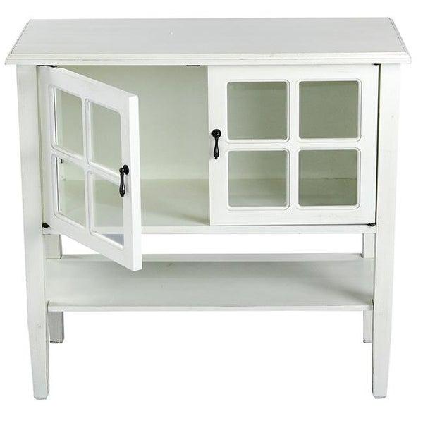 Vivian 2 Door Console Cabinet With Paned Gl Inserts