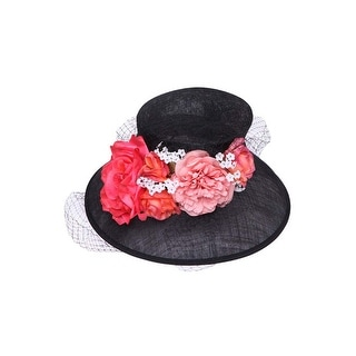 Womens Fashion Floral Bucket Sun Hat w/ Veil